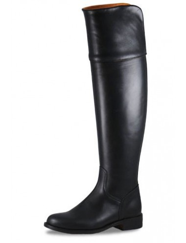 Bottes cavalières - Bottes de cuir plates tige haute