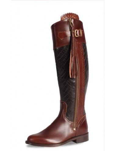 Bottes equitation cuir bordeaux et croco sur mesure - Bottes équitation