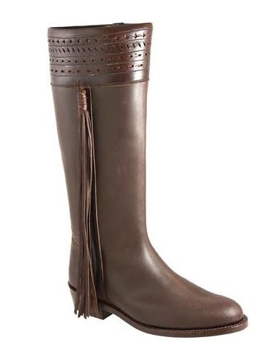 Bottes cavalières espagnoles sur mesure marron cuir femme - Bottes