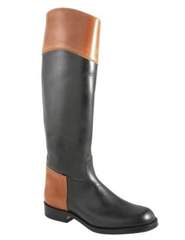 Bottes cavalières noires cuir bicolore sur mesure - Bottes cavalières sur