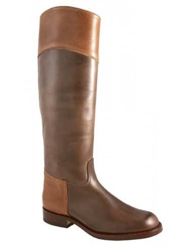Bottes cavalières marron cuir bicolore sur mesure - Bottes cavalières sur