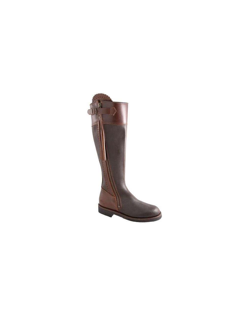 Bottes de chasse cuir marron à frange sur mesure