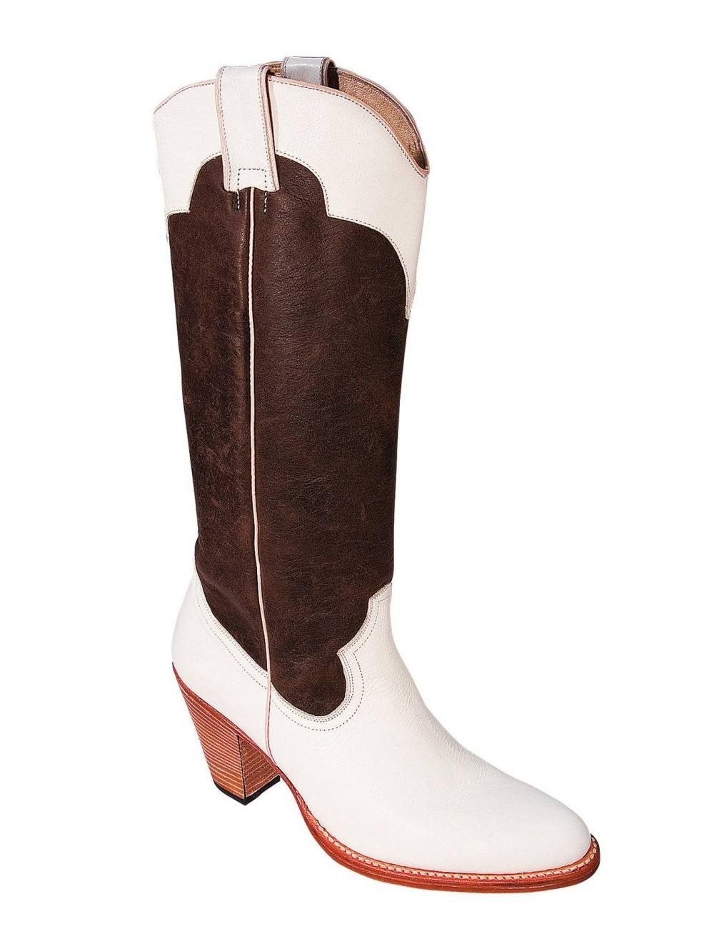 Bottes hautes cuir originales femme - Bottes santiags country artisanales