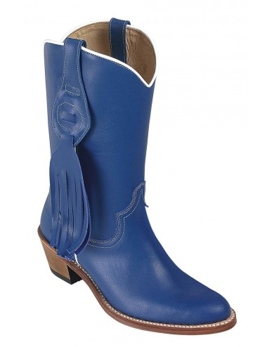 Bottes country cuir bleu femme - Bottes santiags country artisanales