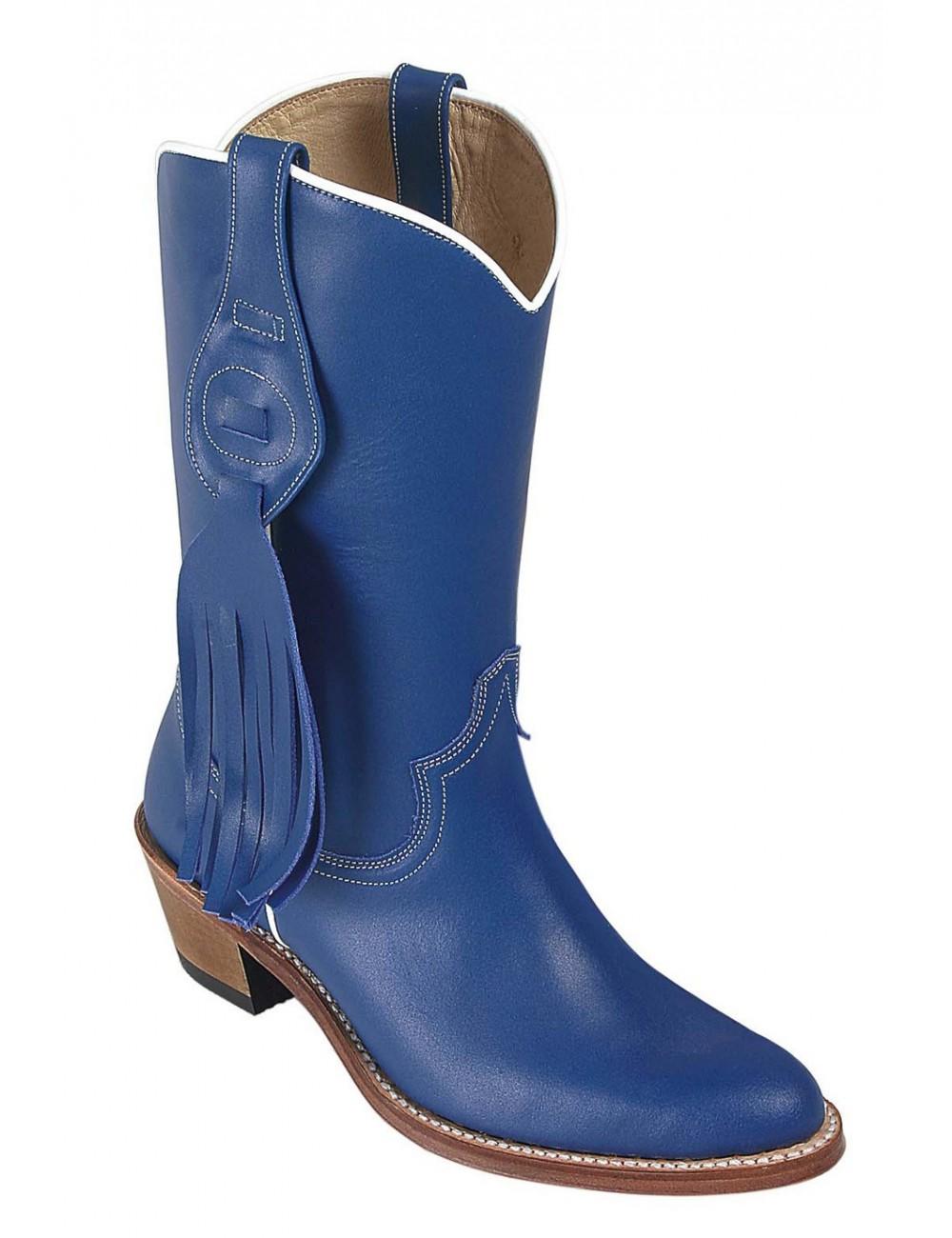 Bottes santiag country - Bottes country cuir bleu femme