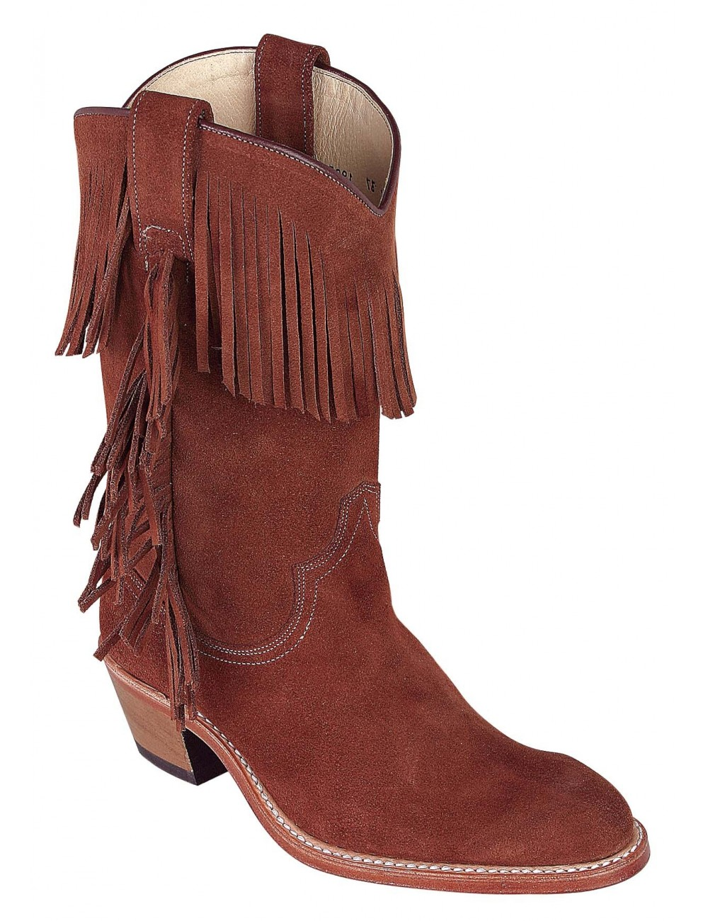 Bottes country cuir marron franges femme - Bottes santiags country