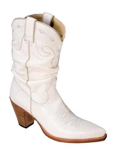 Santiags blanches cuir sur mesure femme - Santiags sur mesure