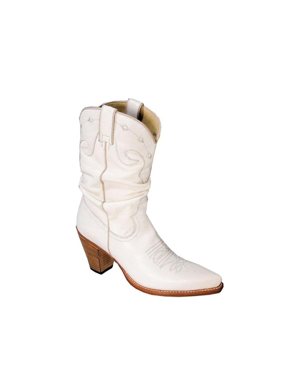 Santiags blanches cuir sur mesure femme