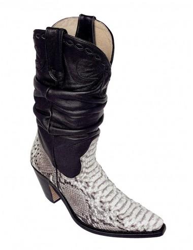 Santiags femme python naturel et cuir noir sur mesure - Santiags sur mesure