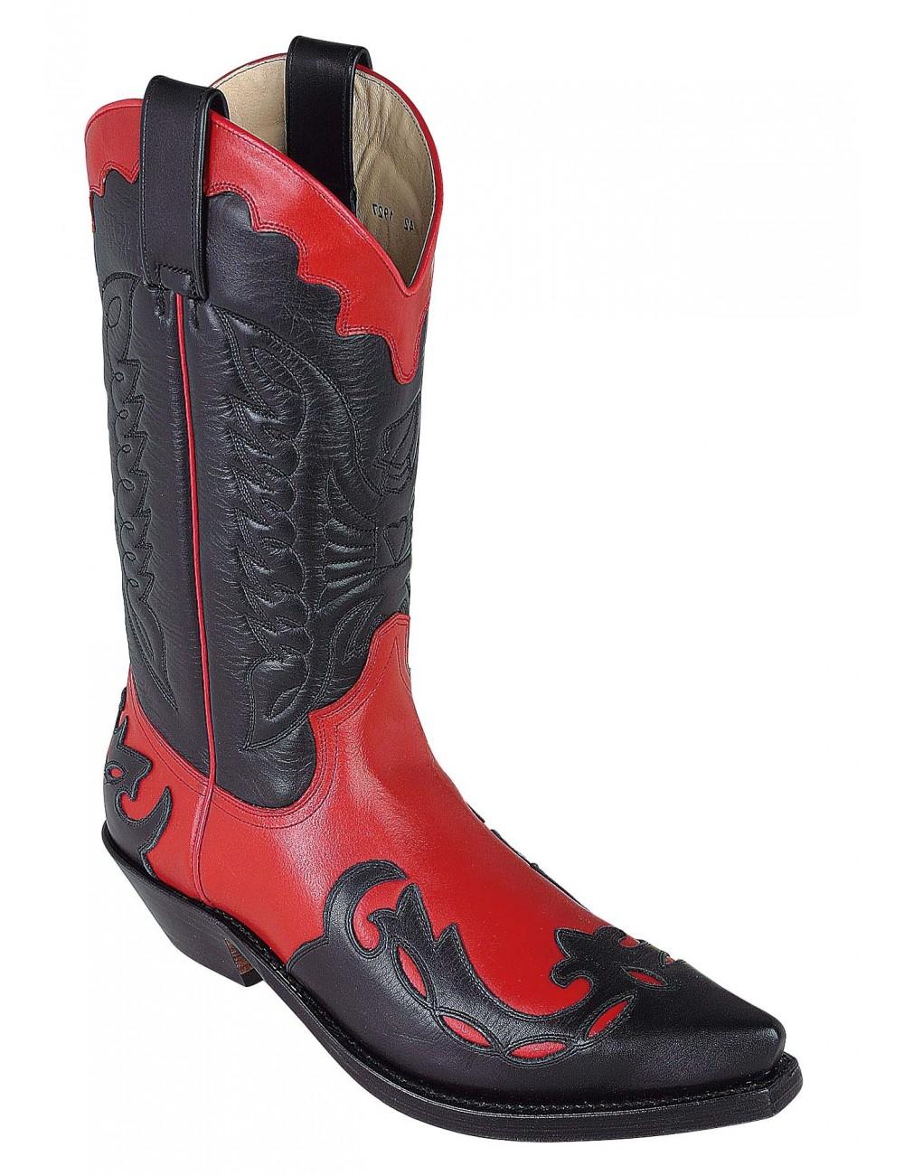 Santiags mexicaines noires et rouge en cuir