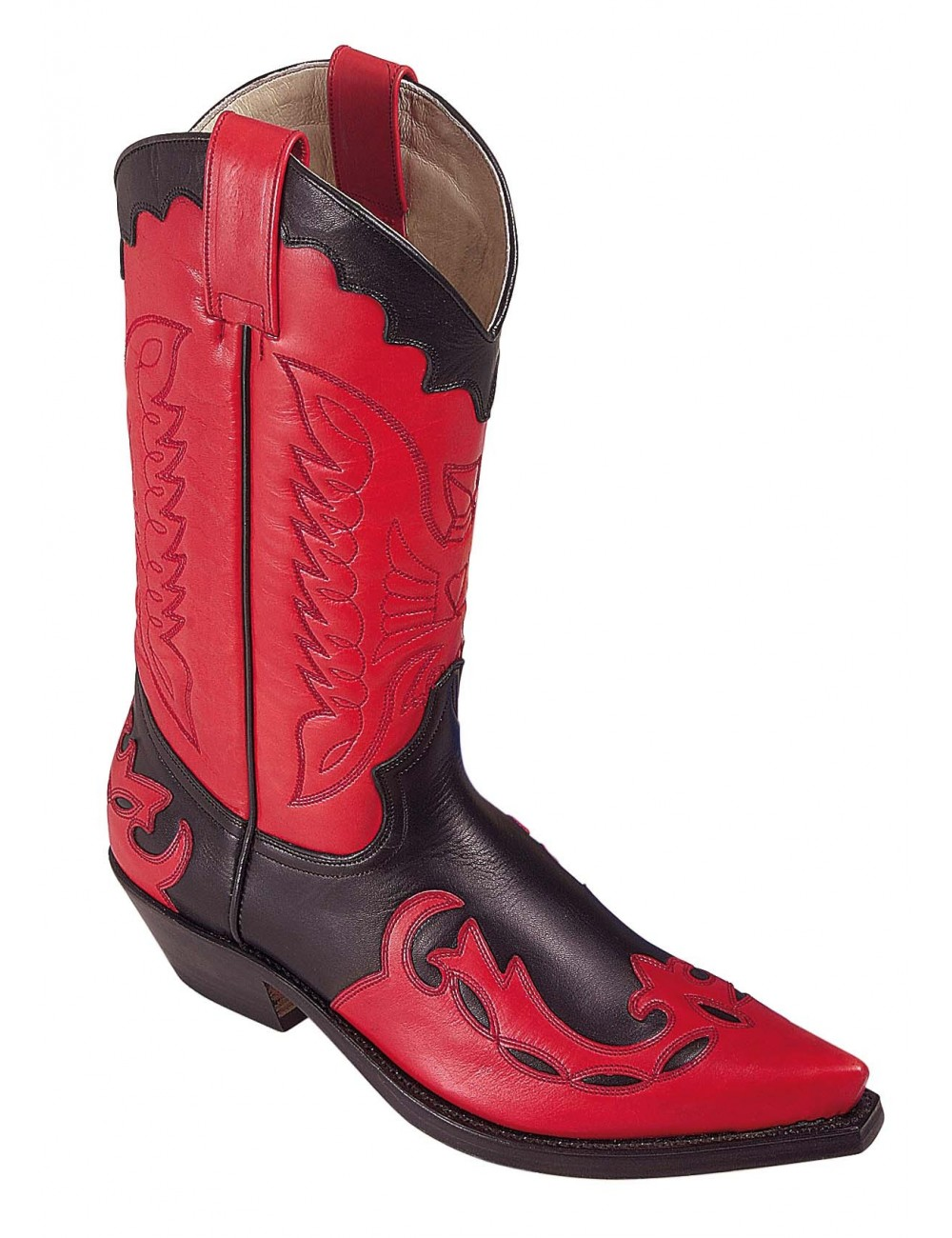 Santiags mexicaines cuir rouge et noir - Bottes santiags country