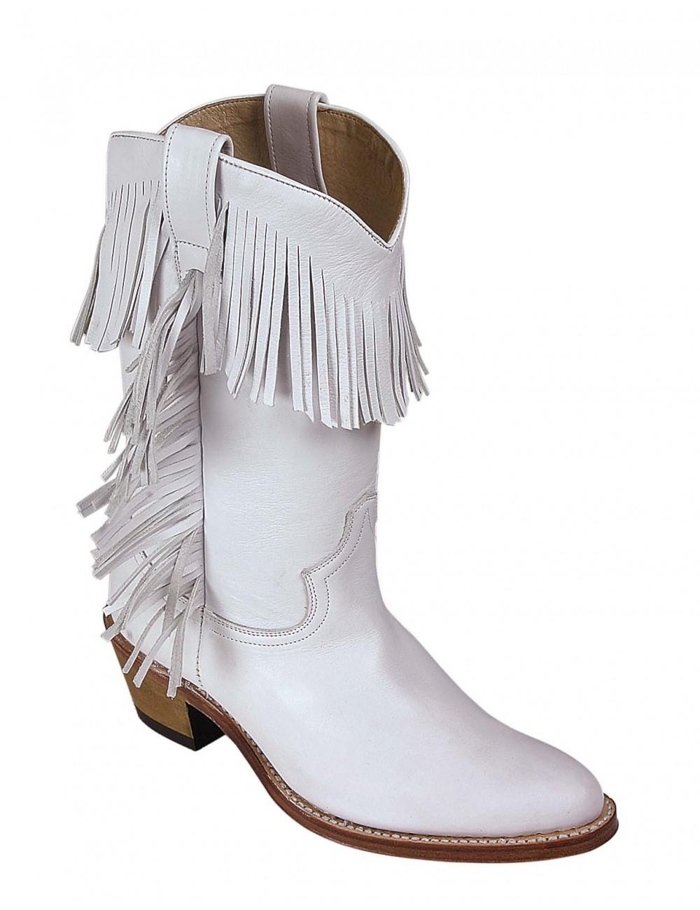 Bottes country cuir blanc franges sur mesure femme - Santiags sur mesure