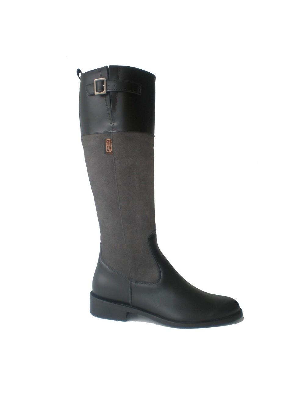 Bottes cavalières - Bottes femme plates cuir gris et noir