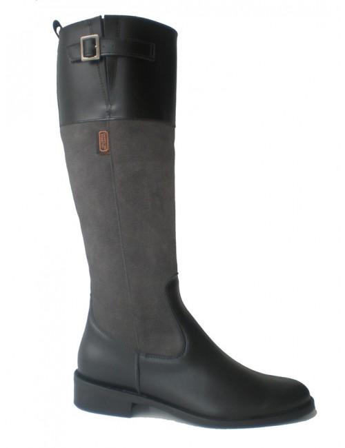 Bottes femme plates cuir gris et noir