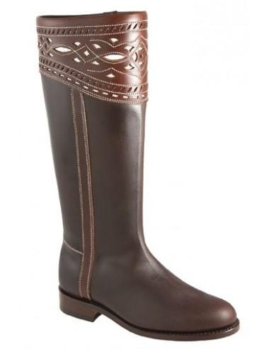 Bottes cavalières espagnoles sur mesure cuir marron femme - Bottes