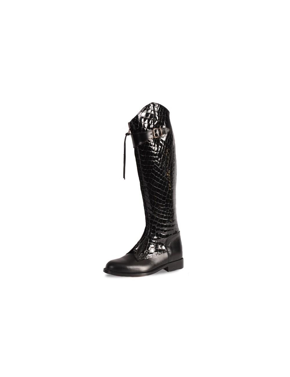 Bottes equitation cuir noir et croco sur mesure - Bottes équitation sur