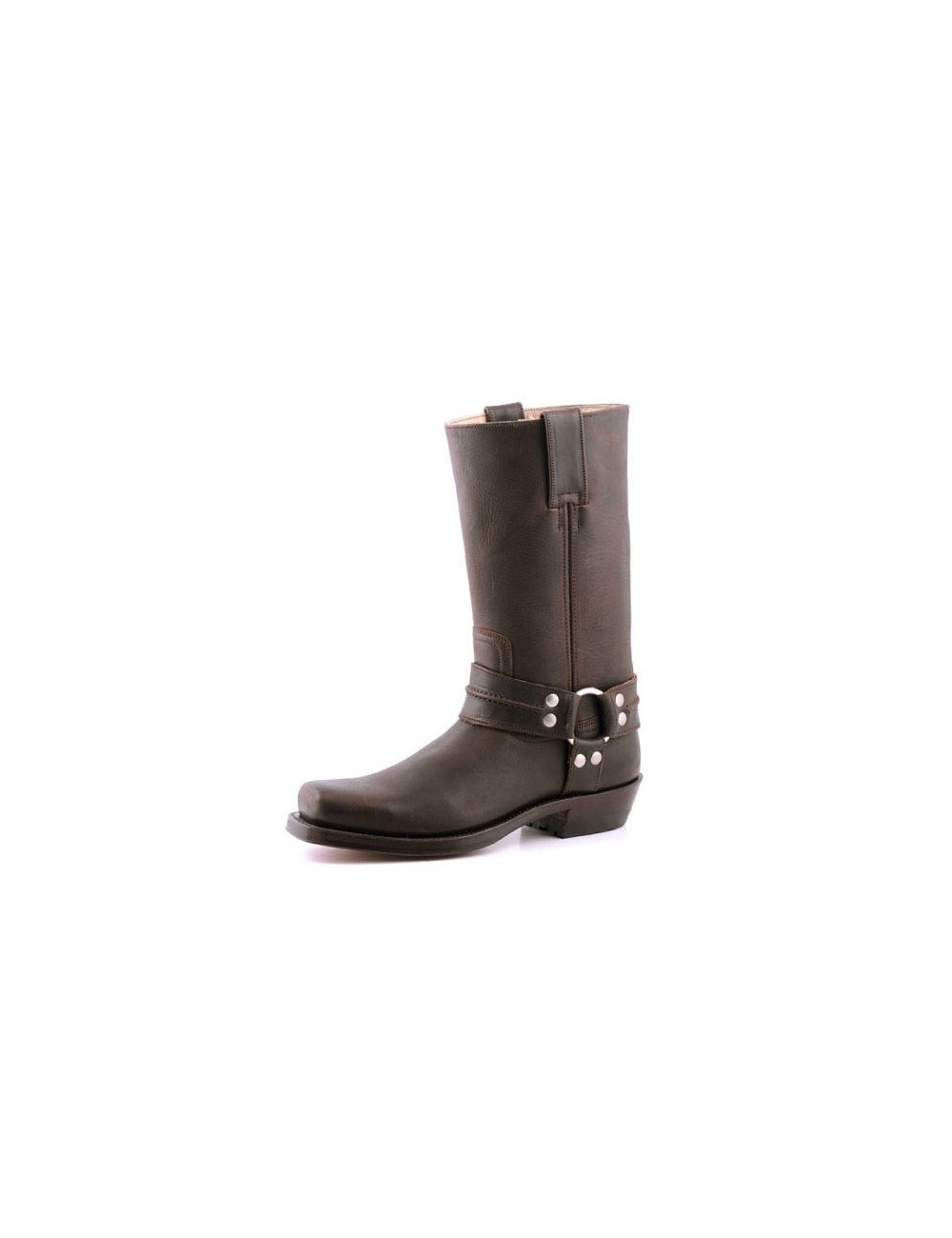 Bottes bikers cuir marron bride à rivets sur mesure