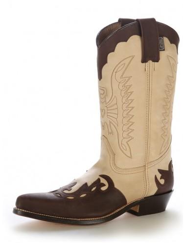 Bottes cowboy cuir beige et marron