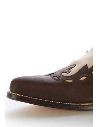 Bottes santiag country - Bottes cowboy cuir beige et marron