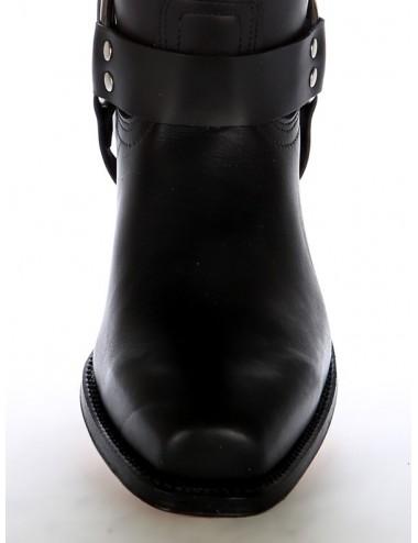 Bottes western cuir noir à brides