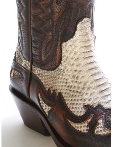 Santiags serpent véritable naturel et cuir marron - Bottes santiags