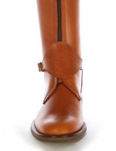 Bottes cavalières - Bottes plates cuir naturel à brides