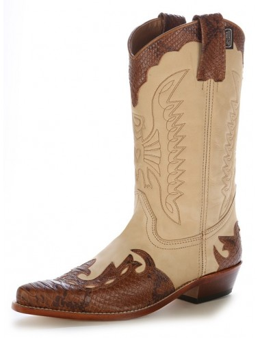 Bottes country bicolores cuir et serpent - Bottes santiags country