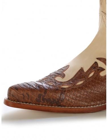 Bottes country bicolores cuir et serpent