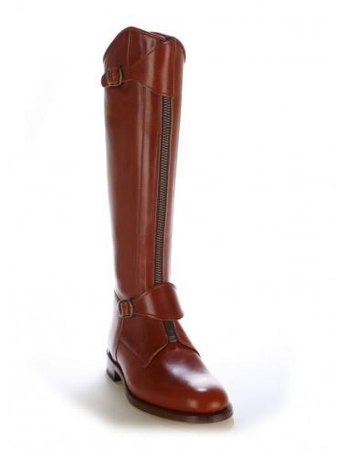 Bottes équitation / polo cuir marron cuivré