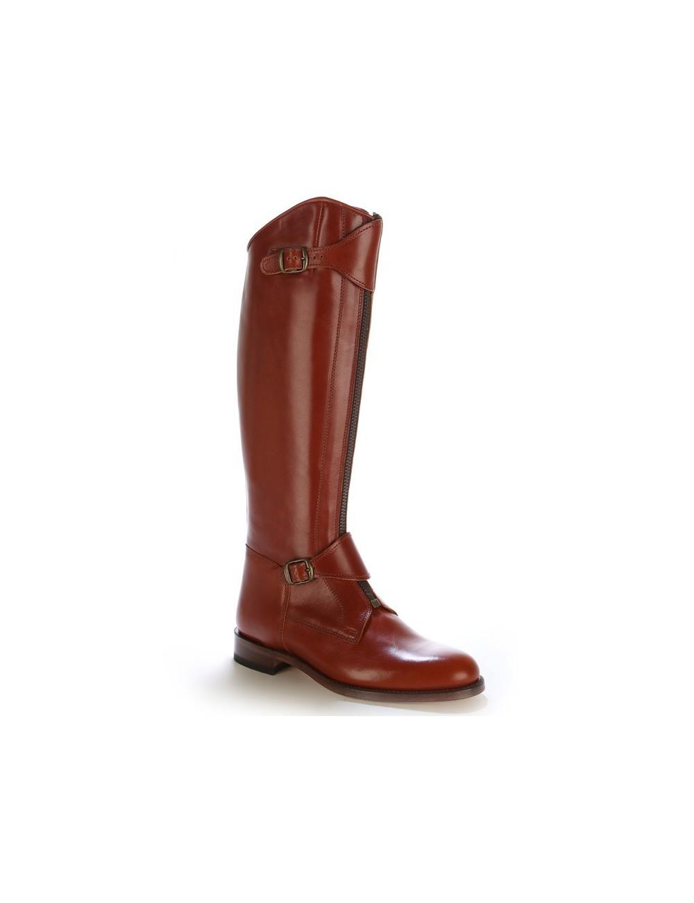 Bottes équitation / polo cuir marron cuivré - Bottes équitation artisanales