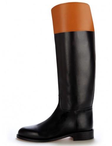 Bottes équitation cuir bicolores