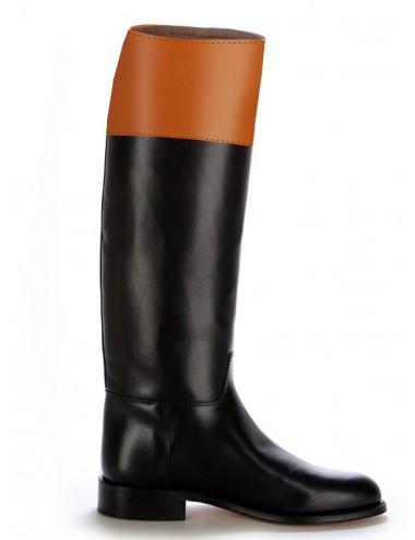 Bottes équitation cuir bicolores - Bottes équitation artisanales