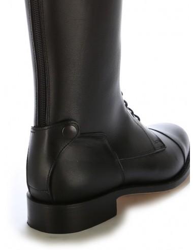 Bottes équitation cuir noir à lacets - Bottes équitation artisanales