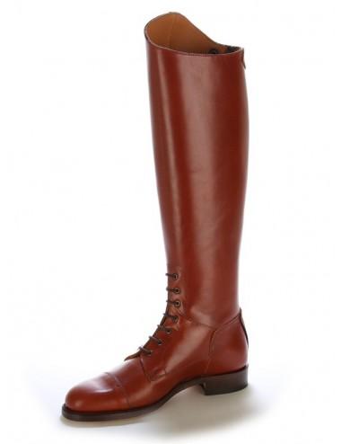 Bottes équitation cuir marron cuivre à lacets - Bottes équitation