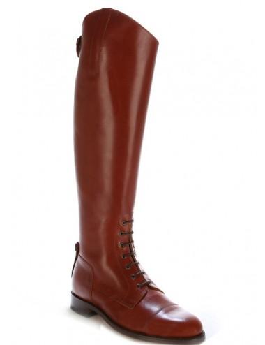 Bottes équitation cuir marron cuivre à lacets