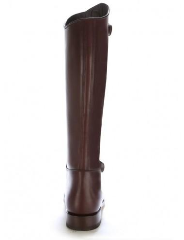 Bottes équitation cuir marron à brides - Bottes équitation artisanales