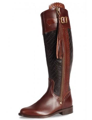 Bottes équitation cuir bordeaux et croco - Bottes équitation artisanales