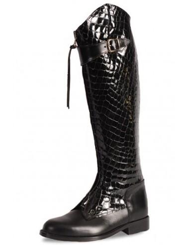 Bottes cavalières - Bottes style équitation cuir noir et croco élégantes