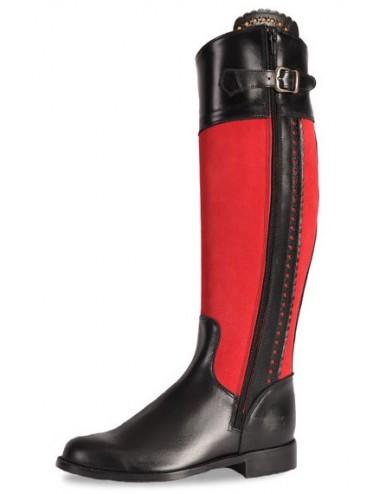 Bottes cuir noir et rouge femme - Bottes cavalières artisanales