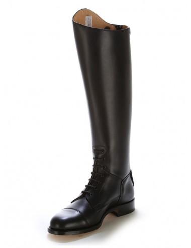 Bottes equitation cuir noir à lacets sur mesure - Bottes équitation sur