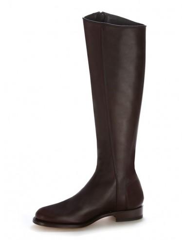 Bottes cavalières cuir marron élégantes - Bottes équitation artisanales
