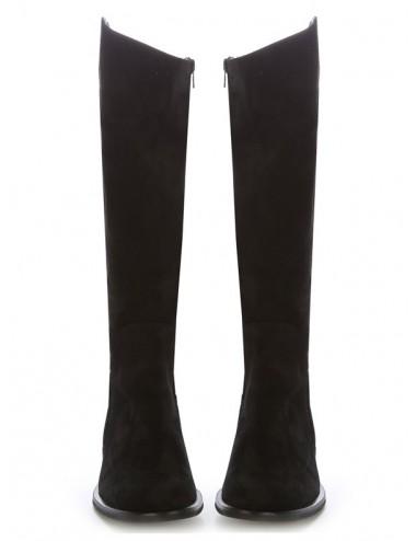 Bottes cavalières - Bottes plates cuir noir femme