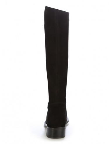 Bottes plates cuir noir femme - Bottes cavalières artisanales