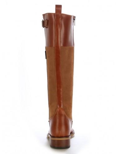 Bottes cavalières - Bottes plates camel en cuir femme