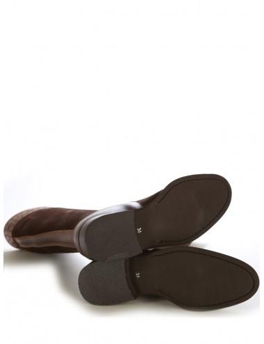 Bottes cavalières - Bottes cavalières espagnoles cuir suédé marron