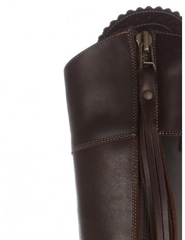 Bottes équitation cuir marron elegantes sur mesure - Bottes équitation sur