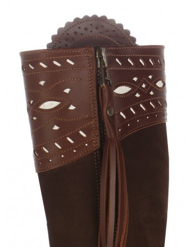 Bottes cavalières espagnoles sur mesure cuir suedé marron - Bottes