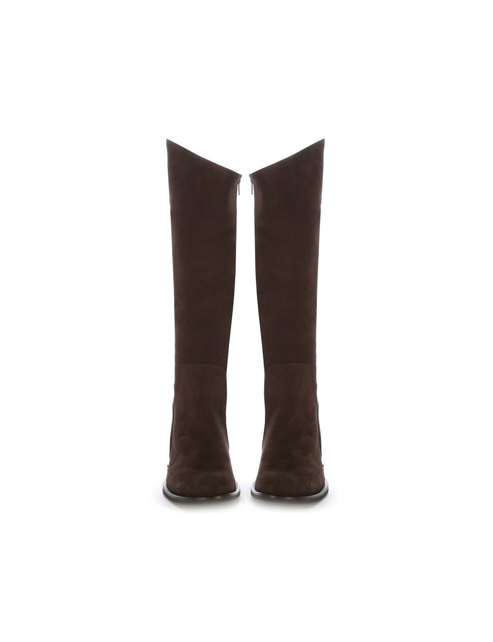 Bottes cavalières sur mesure cuir marron suedé
