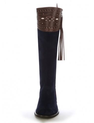 Bottes cavalières cuir bleu marine et marron sur mesure - Bottes