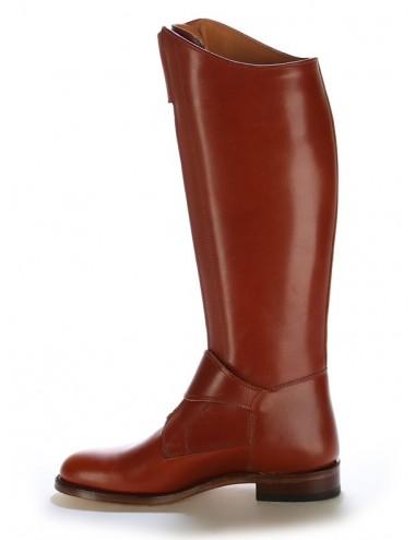 Bottes équitation / polo cuir marron cuivré sur mesure
